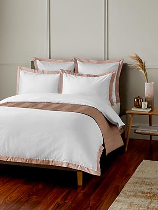 John Lewis & Partners Padova Egyptian Cotton Bedding, White / Pink