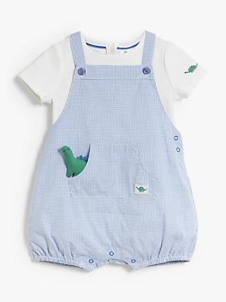John Lewis & Partners Baby Dinosaur Check Cotton Romper, Blue