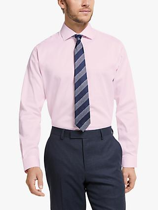 John Lewis & Partners Non Iron Twill Tailored Fit Shirt, Pink
