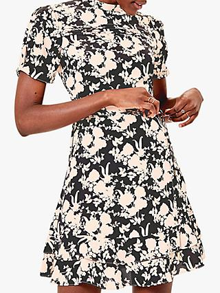 Oasis Shadow Floral Skater Dress, Black/Blush