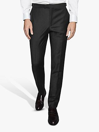 Reiss Salan Pinstripe Slim Fit Suit Trousers, Charcoal