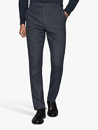 Reiss Pavese Textured Slim Fit Wool Suit Trousers, Navy