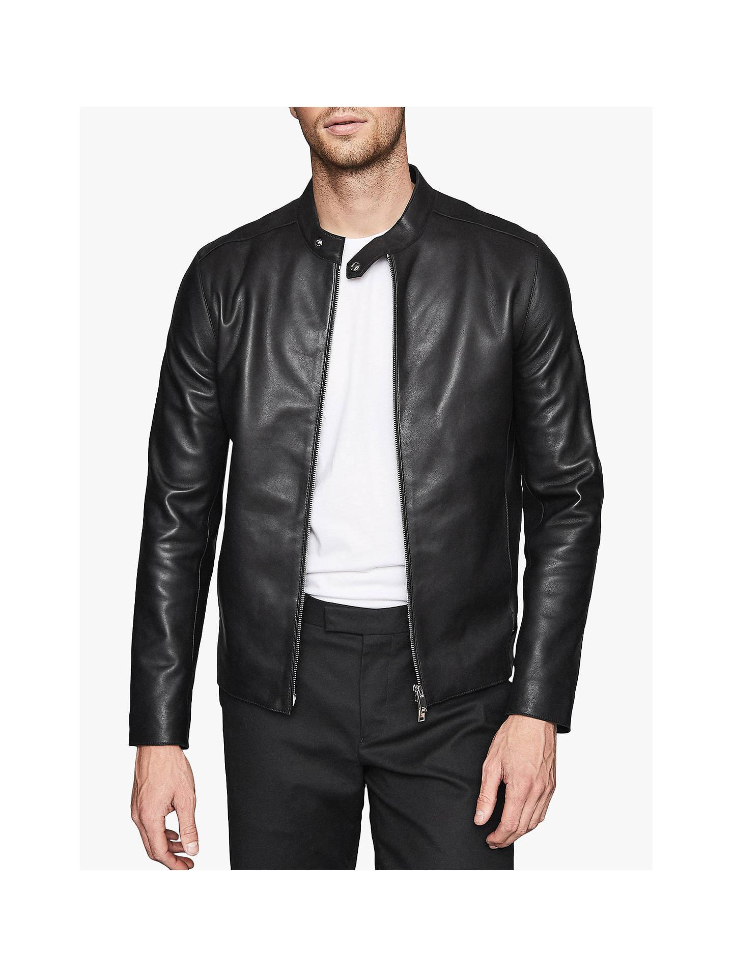 Reiss Keith Leather Cafe Racer Jacket, Black by Reiss