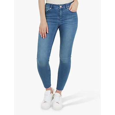 Image of Ted Baker Aaciee Raw Hem Skinny Jeans, Blue Denim