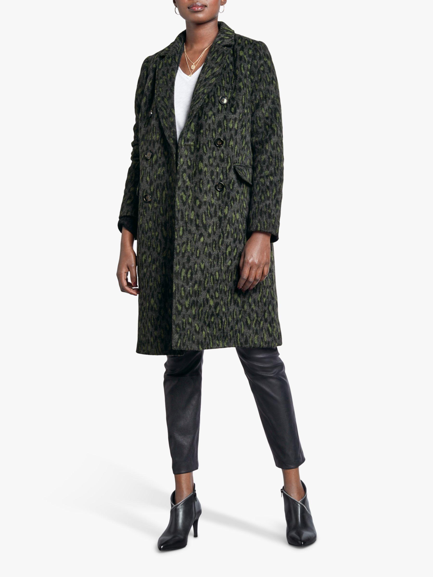 hush hush Lorna Double Breasted Animal Print Coat, Leopard