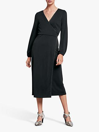 hush Jersey Wrap Velvet Trim Dress, Washed Black