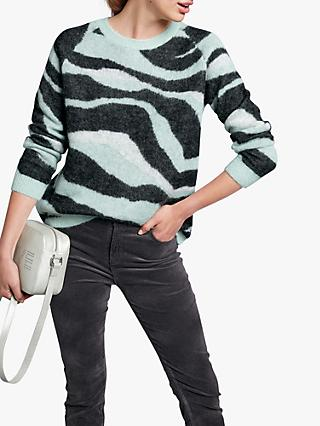 hush Fluffy Zebra Print Alpaca Cropped Jumper, Charcoal/Mint