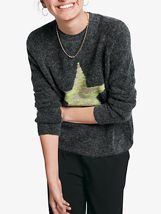 hush Melange Star Jumper, Charcoal/Neon Yellow
