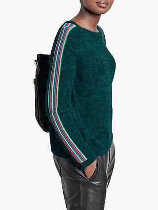 hush Kara Side Stripe Jumper, Deep Sea Green/Multi