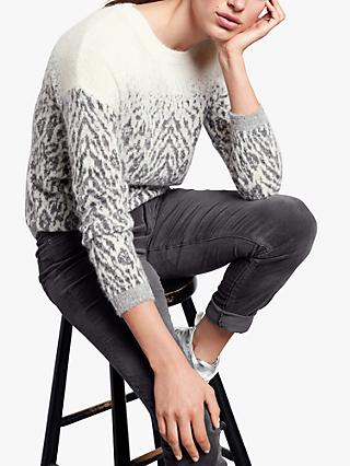 hush Ombre Animal Jumper, Ecru/Grey Melange