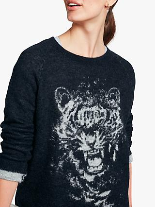 hush Tiger Knitted Jumper, Sky Blue/Light Grey