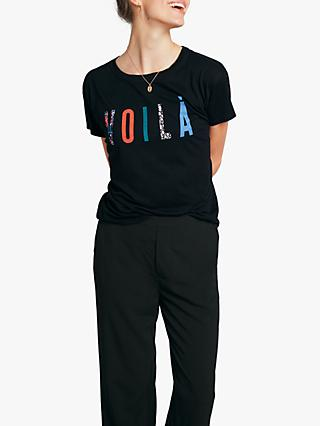 hush Voila Slogan T-Shirt, Black/Multi