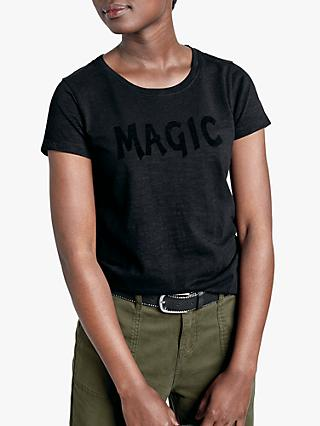 hush Magic Slogan Cotton T-Shirt, Washed Black/Black