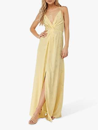 Monsoon Karlie Front Knot Jacquard Dress, Yellow
