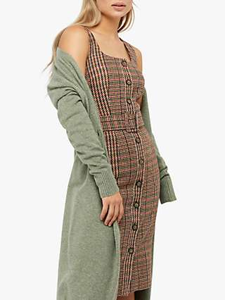Monsoon Patsy Check Midi Dress, Brown