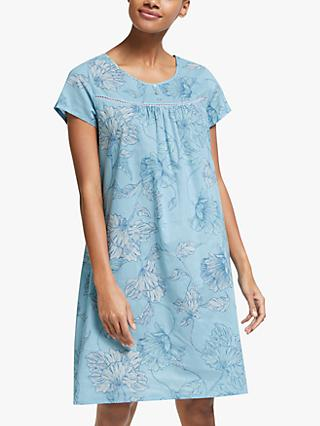John Lewis & Partners Lena Floral Cotton Nightdress, Pale Blue