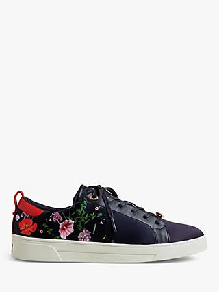 Ted Baker Jymina Floral Lace Up Low Top Trainers, Navy/Multi