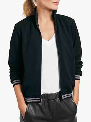 hush Sporty Jersey Jacket, Black/Silver