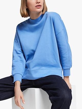 Kin Oversized Panelled Back Cotton Sweatshirt, Light Blue