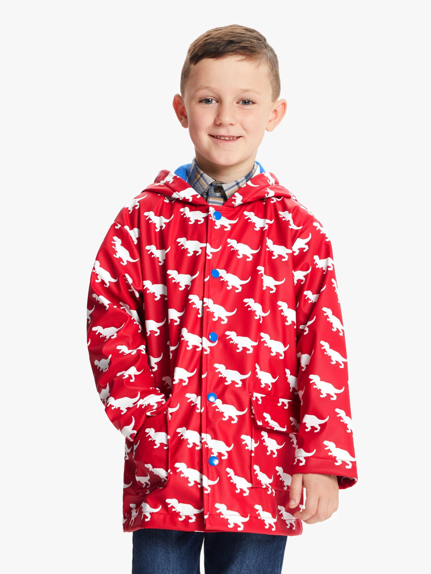 Hatley Hatley Boys' T-Rex Print Raincoat, Red