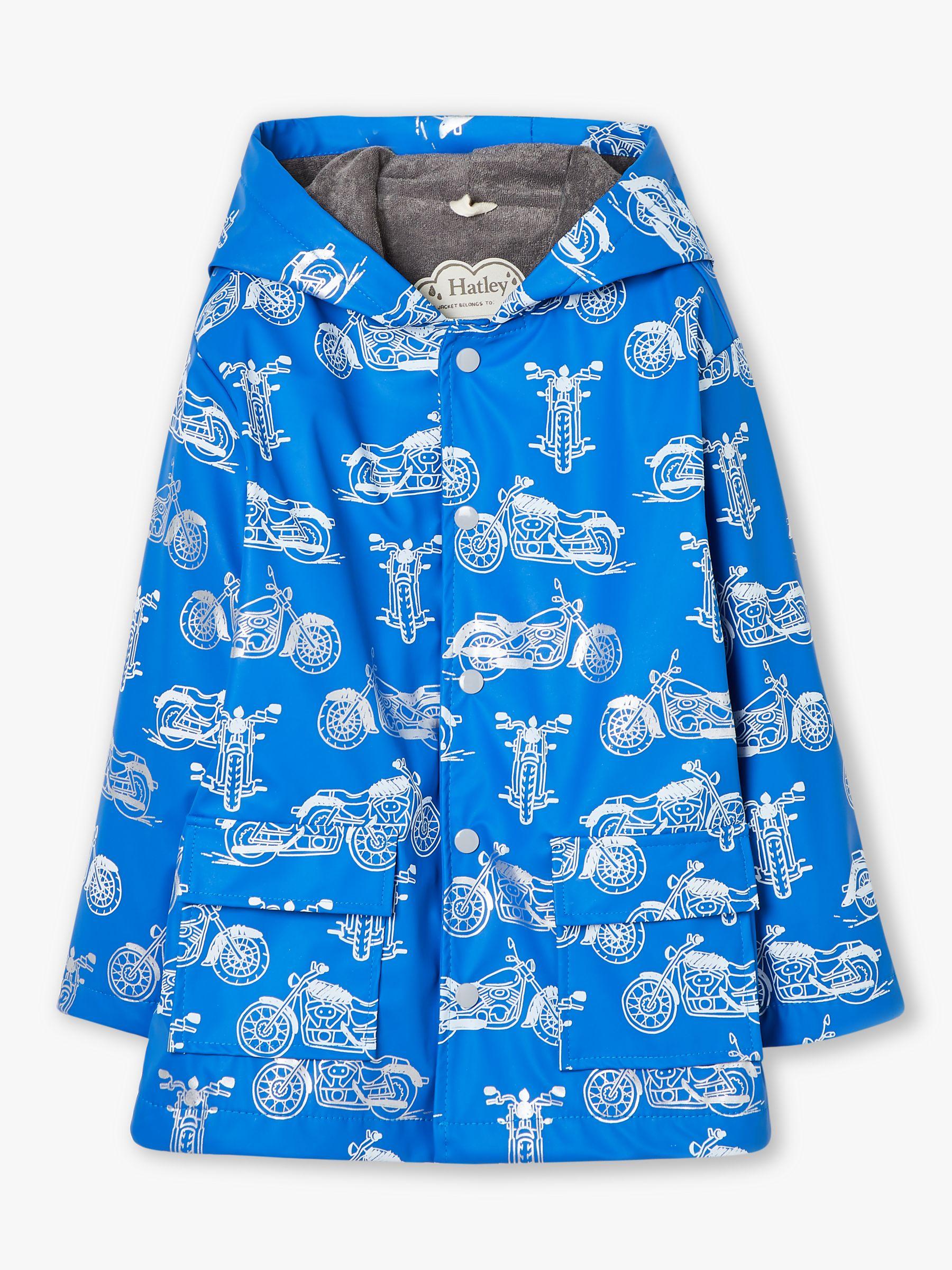 Hatley Hatley Boys' Motorcycle Print Raincoat, Blue
