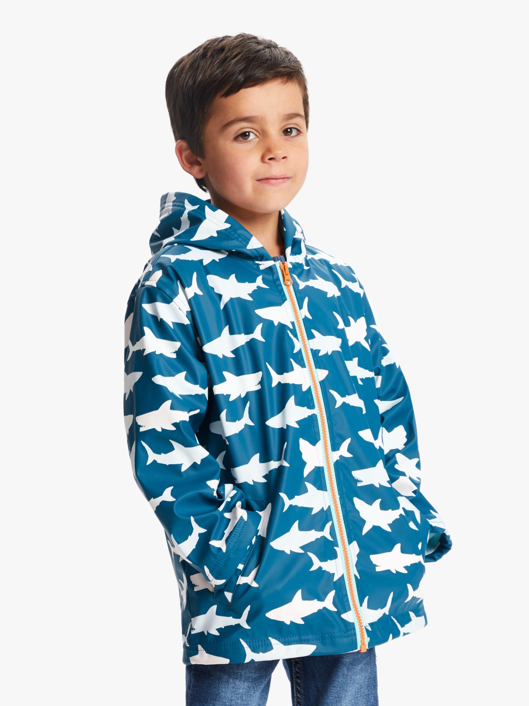 Hatley Hatley Boys' Shark Print Colour Changing Splash Jacket, Blue