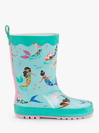John Lewis & Partners Children's Mermaid Wellington Boots, Green Multi
