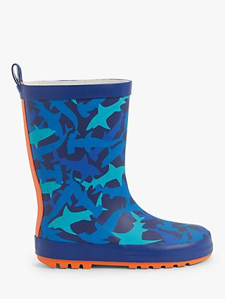 John Lewis & Partners Children's Shark Wellington Boots, Blue