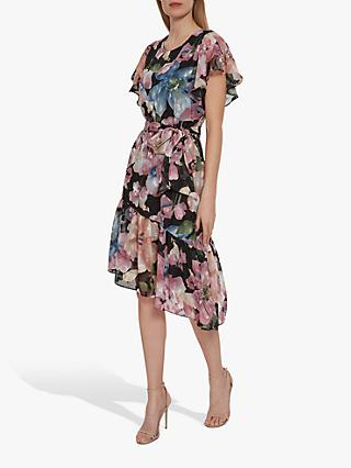 Gina Bacconi Charlene Chiffon Dress, Black/Rose