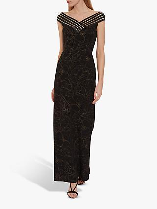 Gina Bacconi Caralea Metallic Crepe Maxi Dress, Black/Gold
