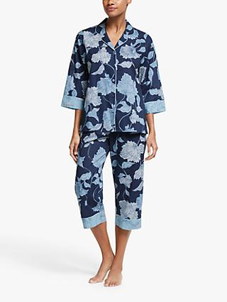 John Lewis & Partners Lena Floral Cotton Pyjama Set, Navy
