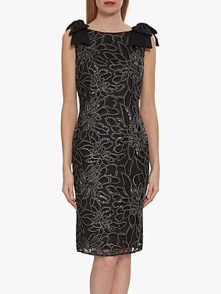 Gina Bacconi Norelli Embroidered Shift Dress, Black