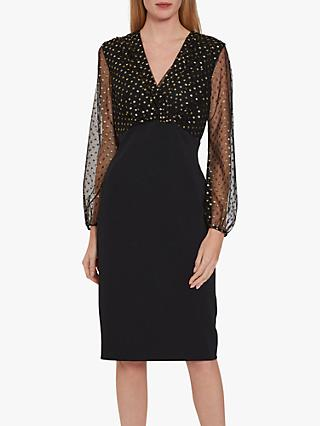 Gina Bacconi Idalia Spot Crepe Dress, Black/Gold