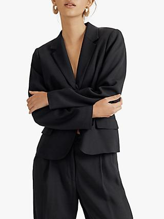 Jigsaw Satin Button Blazer Jacket, Black