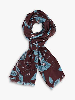 Jigsaw Blackberry Print Wool Silk Scarf, Auburn