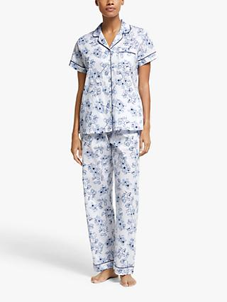 John Lewis & Partners Grace Short Sleeve Pyjama Set, Pale Blue