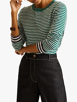Jigsaw Stripe Contrast Detail Jumper, Emerald
