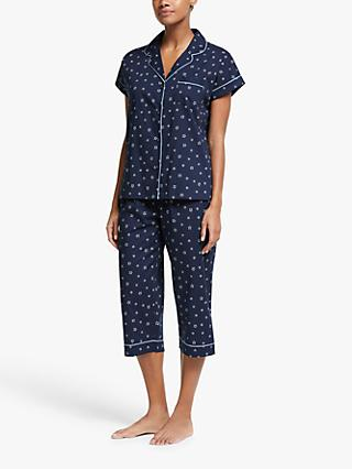 John Lewis & Partners Rosalie Star Cotton Pyjama Set, Navy