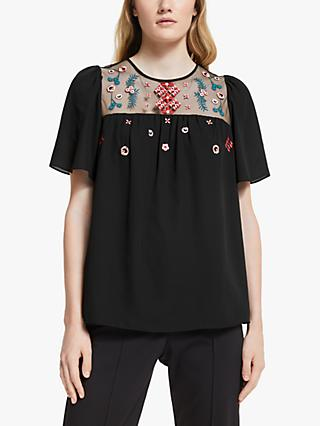 Somerset by Alice Temperley Embroidered Top, Black/Multi