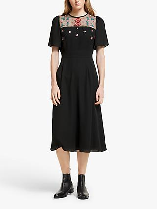 Somerset by Alice Temperley Embroidered Midi Dress, Black
