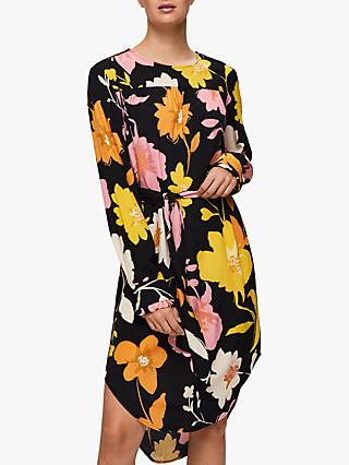Selected Femme Cadence Dynella Floral Print Midi Dress, Black/Multi
