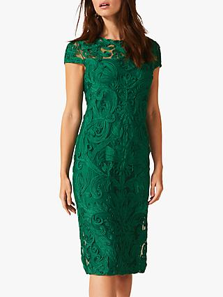 Phase Eight Chantal Tapework Dress, Cactus Green