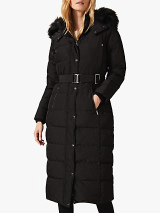 Phase Eight Mabel Long Puffer Coat, Black