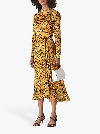 Whistles Ines Ikat Animal Print Midi Dress, Yellow/Multi