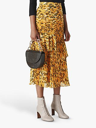 Whistles Ikat Animal Print Midi Skirt, Yellow/Multi