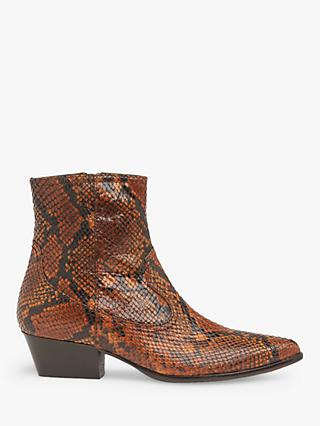 L.K.Bennett Choral Snake Print Leather Cowboy Ankle Boots, Honey