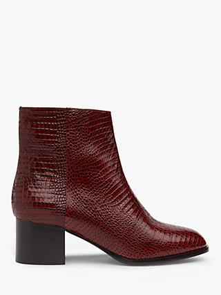 L.K.Bennett Dayna Lizard Effect Leather Ankle Boots, Burgundy
