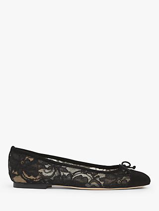 L.K.Bennett Kara Lace Flat Bow Pumps, Black