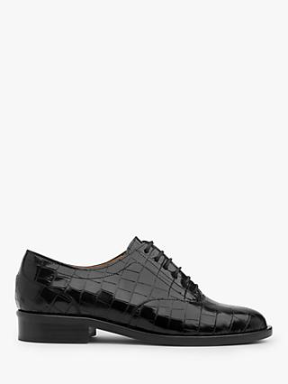 L.K.Bennett Jamie Croc Effect Leather Brogues, Black