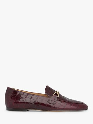 L.K.Bennett Marina Croc Leather Loafers, Burgundy